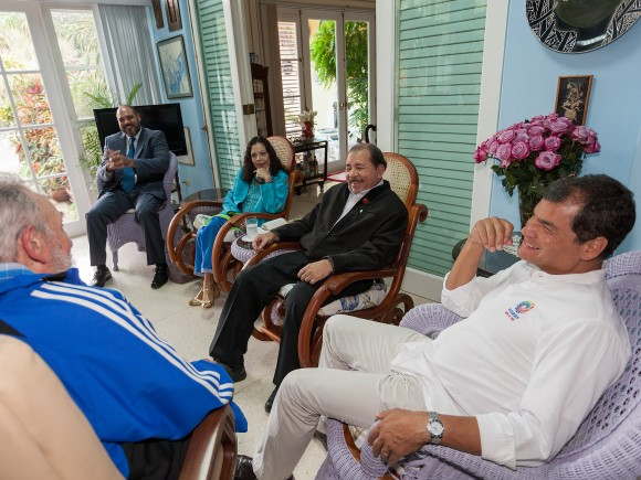 Encuentro de Fidel con Evo, Corea y Daniel en La Habana, el 29 de enero de 2014. Foto: Alex Castro