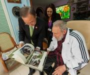 Fidel Castro y Ban Ki-moon, Secretario General de la ONU, en un encuentro en La Habana. Foto: Alex Castro.