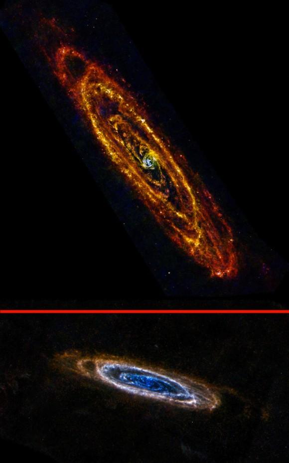 La Galaxia de Andrómeda es nuestro vecino más grande y más cercano. Aunque por lo general fotografiado en longitudes de onda visibles, la galaxia adquiere características completamente nuevas en los ojos infrarrojos del telescopio espacial Herschel de la ESA