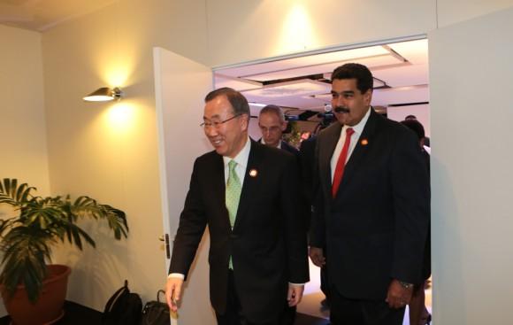 El presidente Nicolás Maduro se reunió el martes con el secretario general de la ONU, Ban Ki-moon. Foto:Prensa Miraflores