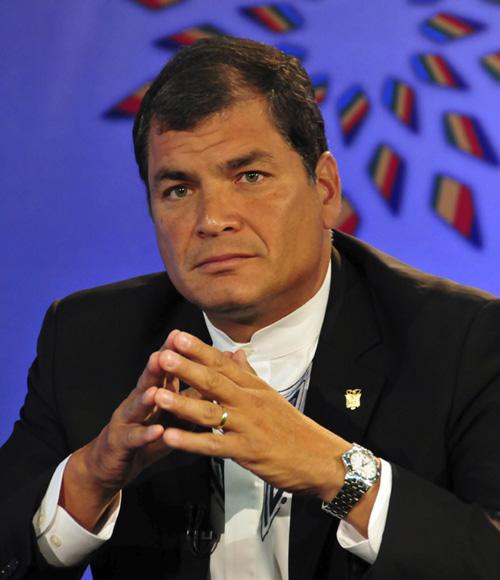 Rafael Correa en la Sala de Prensa, en vivo por Telesur. Foto: Ladyrene Pérez/Cubadebate.