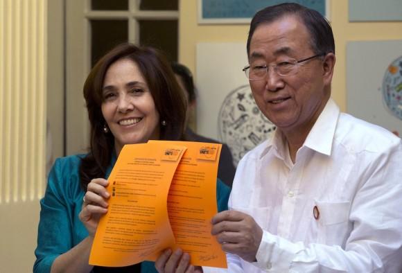Ban Ki-moon y Mariela Castro. Foto: Ramón Espinosa/ AP