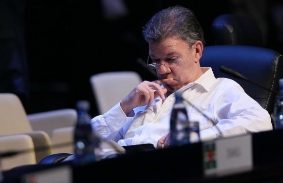 El Presidente de Colombia, Juan Manuel Santos, en la clausura de la Cumbre de la CELAC. Foto: Ismael Francisco/ Cubadebate