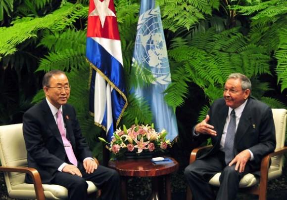 Raúl y Ban Ki-moon. Foto: Ricardo López Hevia/Granma