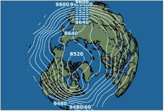 Vista del Hemisferio Norte desde el Polo. Se observa una profunda Onda Polar sobre el este de Canadá y los EE.UU., con transporte de aire desde el Polo hacia el sur sobre dichos países. Otra Onda Polar se encuentra sobre el este de Asia.