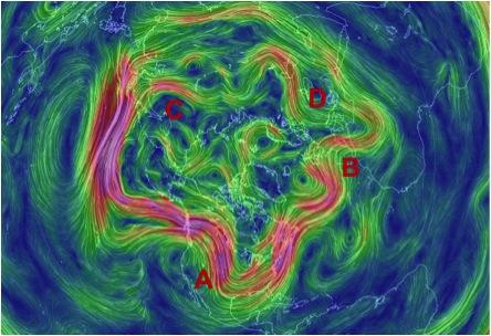 Figura 1.- En esta gráfica computarizada se observa la circulación alrededor de las latitudes circumpolares del hemisferio norte con las diferentes Ondas Polares: A- Onda Polar profunda en Norteamérica que trae al sur aire ártico muy frío del oeste de Canadá; B- Onda Polar en Europa; el aire que traslada proviene del Atlántico Norte, por lo que no es muy frío; C- Onda Polar en Asia: de poco transporte y poco profunda; y, D-Onda Polar sobre Rusia: semejante a la de Asia, pero transporta más frío por transportar aire de Siberia.