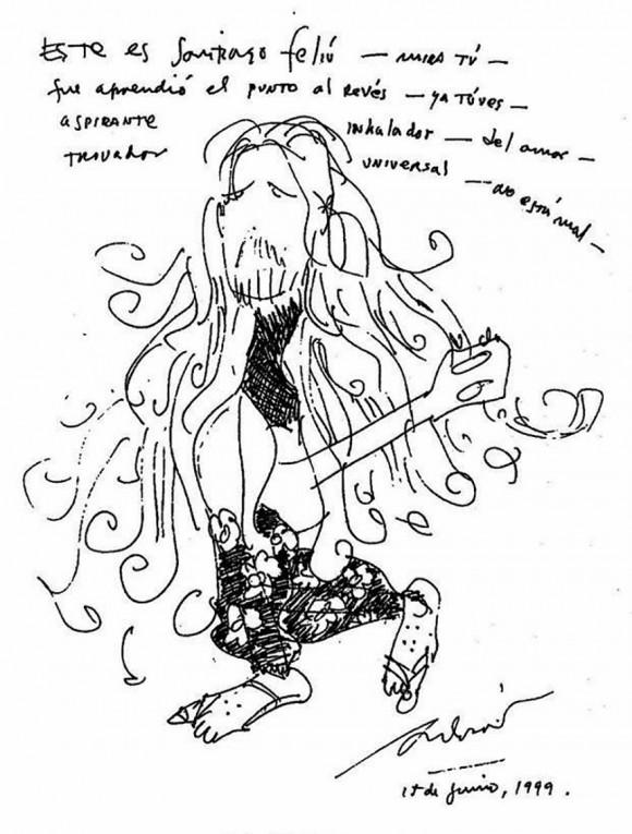 Dibujo de Silvio Rodríguez, publicado en el blog Segunda Cita.