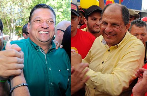 El candidato Luis Guillermo Solís, de Acción Ciudadana (PAC), crece en cantidad de votos recibidos para presidente, mientras que su rival, Johnny Araya, cae en el porcentaje de votos obtenidos, según el último corte emitido por el TSE con el 40% de las mesas escrutadas. Foto: Archivo.
