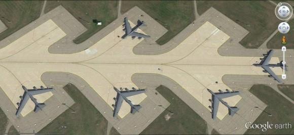 Bombarderos B-52H en la base de Minot.