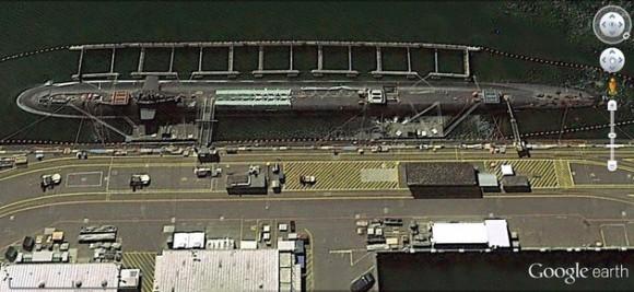 Un submarino de la clase Ohio en la base marítima de Kitsap.