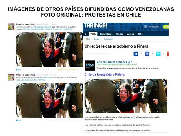 Manipulación en las Redes Sociales sobre supuesta represión del Gobierno Venezolano ante protestas violentas de la oposición.