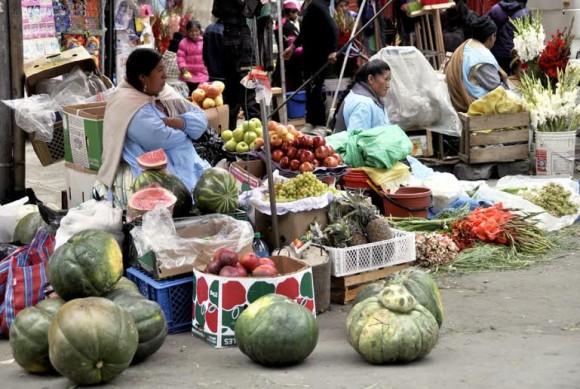 Una de las improvisadas ferias campesinas instaladas en calles de La Paz. Foto: Kaloian.
