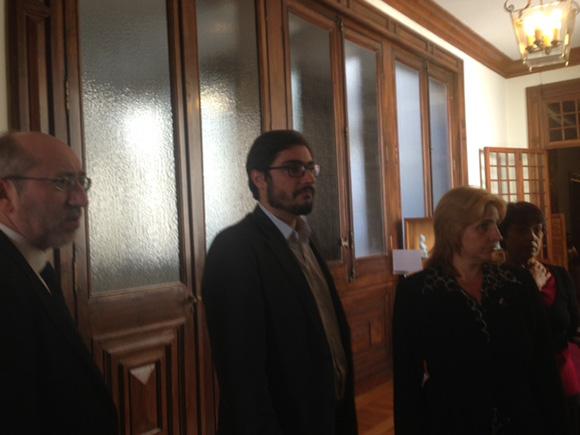 Elizabeth Palmei, durante su encuentro con Antonio Filipe, vicepresidente del Parlamento de Portugal.