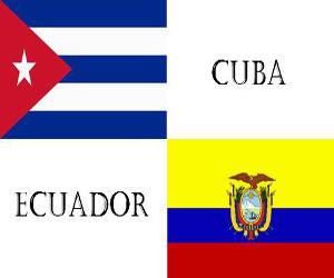 Banderas Cuba y Ecuador