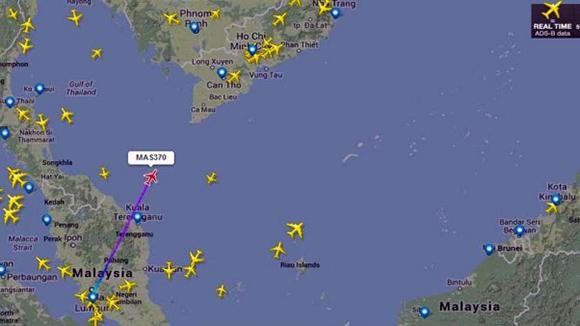 Última ubicación registrada del vuelo desaparecido.
