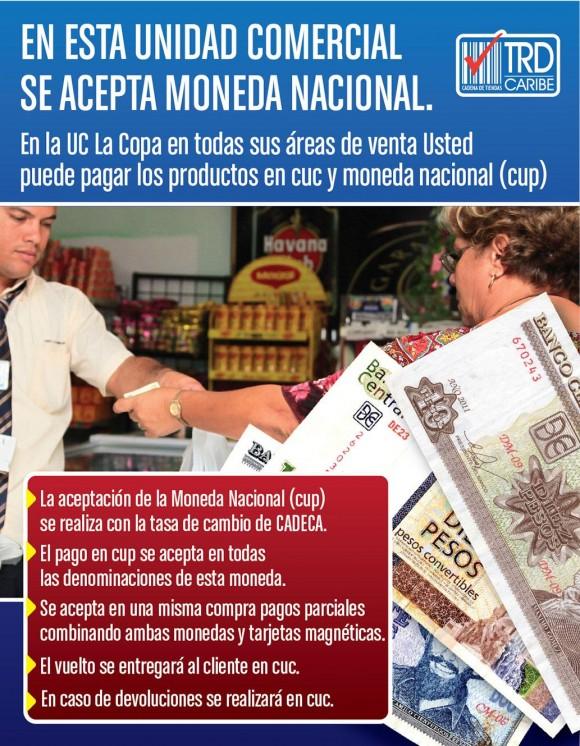 Cartel de promoción en exhibición en las tiendas La Puntilla y La Copa.
