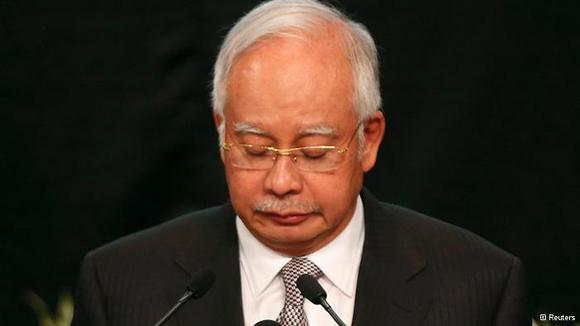 El primer ministro de Malasia, Najib Razak, anunció que, según las nuevas informaciones disponibles, el avión de Malaysia Airlines se estrelló en Océano Índico. Foto: AFP