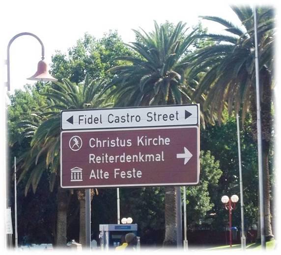Señalética de la avenida Fidel Castro en la capital de Namibia. Autor: José Alberto Zayas Pérez
