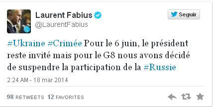 Cuenta en Twitter de Laurent Fabius.
