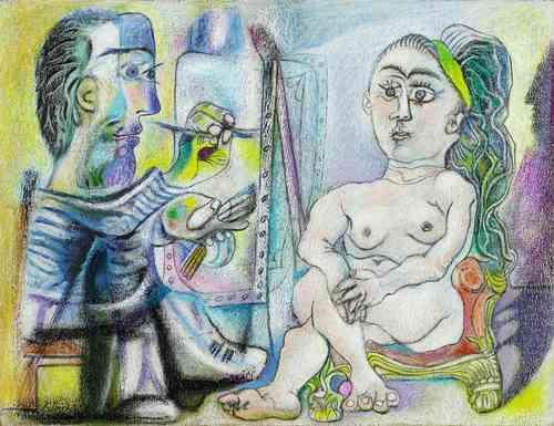 El pintor y su modelo, 1963, cuadro de Pablo Picasso, donado por Louise y Michel Leiris en 1984 al , en París, que es parte de la muestra del artista malagueño en la capital española que concluirá el 11 de mayo. Foto: Centro Pompidou.