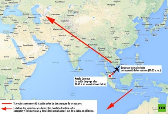avion malasia trayectoria
