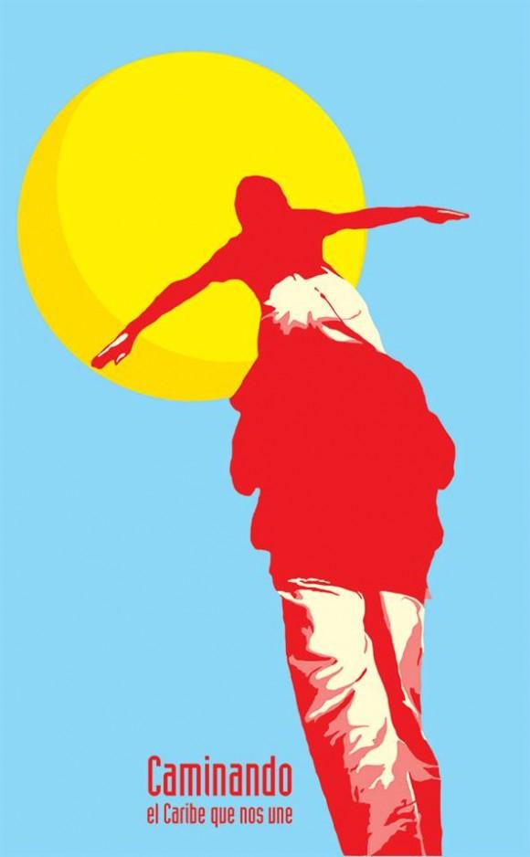 """R10, """"Caminando (cartel)""""- 2014. (Tinta y acrílico / cartulina, 100 x 70 cm)"""