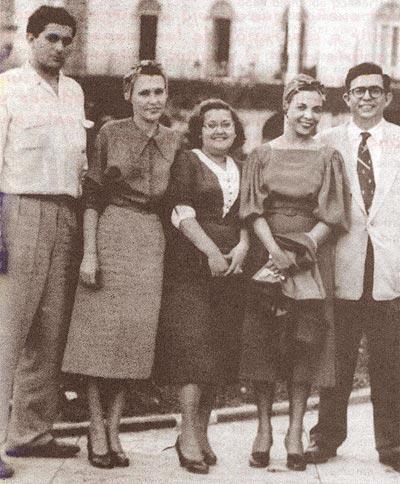 Luis Santa Coloma, Haydée Santamaría, Elda Pérez, Melba Hernández, Jesús (Chucho) Montané.  Foto tomada durante el Centenario Martiano, 28 de enero de 1953.