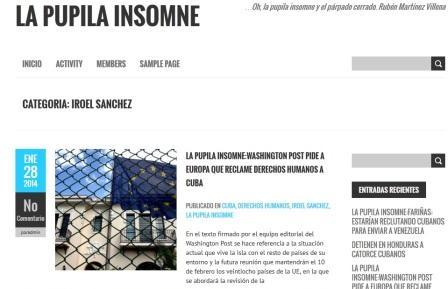 La imagen del blog fraudulento con el nombre del autor del blog.