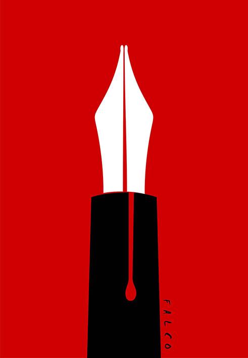Tinta sangre. Caricatura: Falco
