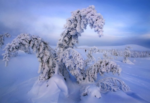 A temperaturas de -50ºC resulta muy complicado moverse, tanto por el hielo como por el frío. Foto: Serguéi Makurin.
