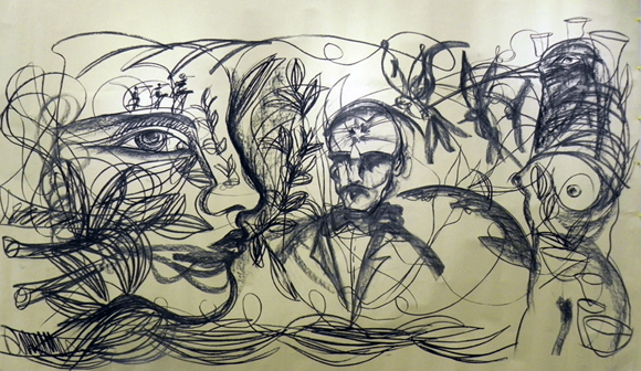 """Sin título. Obra de Zaida  realizada ante el público, el 11 de abril de 2014, en la presentación de su exposición """"Amor de Ciudad Grande"""". Foto: Marianela Dufflar."""