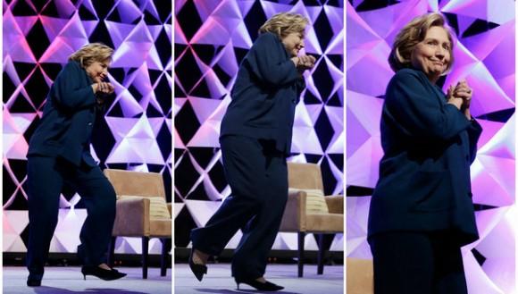 Hillary-Clinton-esquiva-un-zapato