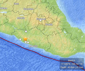 Un terremoto de magnitud 7,5 ha sacudido el estado mexicano de Guerrero.  Mapa USGS