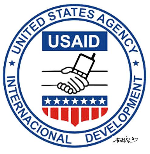 """La """"ayuda humanitaria"""" de la USAID. Caricatura: Adán Iglesias"""