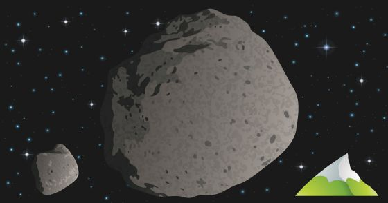 Tamaños del asteroide de los dinosaurios (izquierda), de 10 kilómetros; el de hace 3.260 millones de años (centro), de 37 kilómetros; y del Everest, de 8,9 kilómetros de altura. / AGU