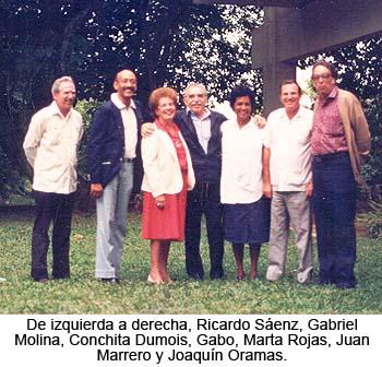 De izquierda a derecha, Ricardo Sáenz, Gabriel Molina, Conchita Dumois, Gabo, Marta Rojas, Juan Marrero y Joaquin Oramas