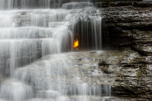 Una llama detrás de una catarata en el Parque de Chestnut Ridge en Nueva York, Estados Unidos. © Wikipedia / Mpmajewski