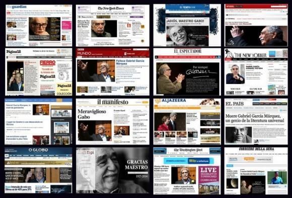 Periódicos del mundo anuncian en su portada que murió el Nobel colombiano.
