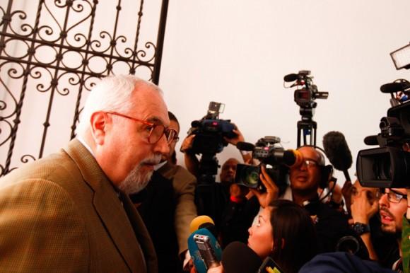 El secretario de la opositora Mesa de la Unidad ofreció declaraciones previo a la reunión para establecer el diálogo. Foto: Prensa Miraflores