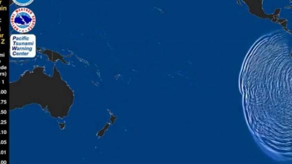 Un video del Centro de Alerta de Tsunamis del Pacífico muestra el recorrido a lo largo del océano de la onda de propagación ocasionada por el terremoto de 8.2 grados.