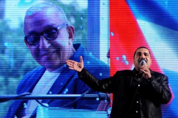 """Moisés Valle """"Yumurí"""", durante el homenaje ofrecido a Juan Formell, fundador de los Van Van y Premio Nacional de Música, en la Tribuna Antiimperialista José Martí, en La Habana, Cuba, el 3 de mayo de 2014.   AIN FOTO/Omara GARCÍA MEDEROS"""