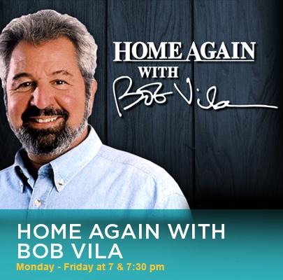 """Cartel de presentación de Bob Vila en el programa """"Home Again"""", de la Televisión."""