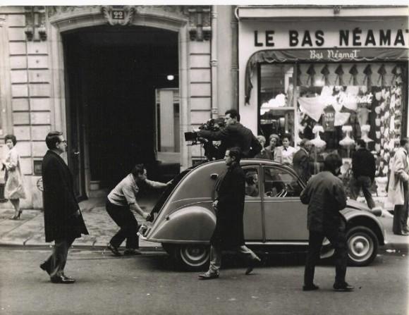 François Truffaut y Jean Desailly en al filmación de La piel suave (1964)