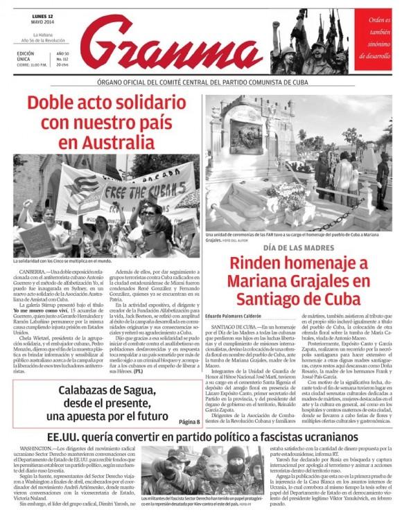 Periódico Granma, lunes 12 de mayo de 2014