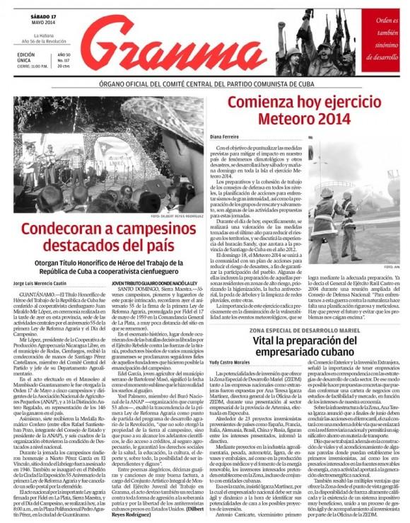 Periódico Granma, sábado 17 de mayo de 2014