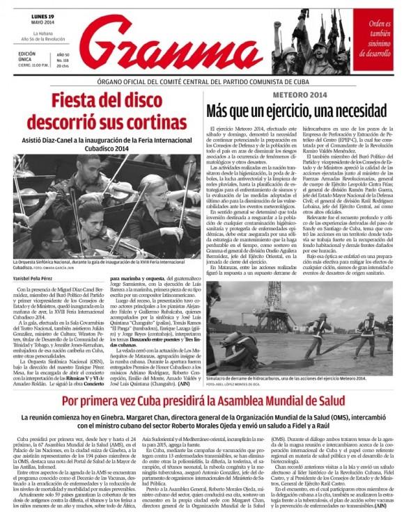 Periódico Granma, lunes 19 de mayo de 2014