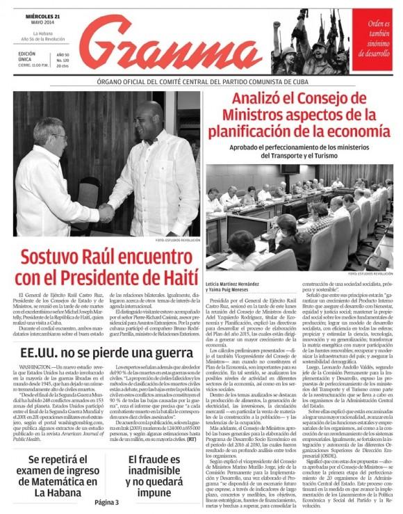 Periódico Granma, miércoles 21 de mayo de 2014