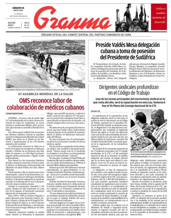 Periódico Granma, sábado 24 de mayo de 2014