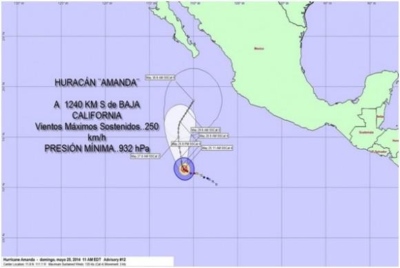 Cono de trayectoria pronosticada para el huracán AMANDA. Sus vientos se irán debilitando durante las próximas horas y días.