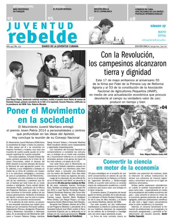 Periódico Juventud Rebelde, sábado 17 de mayo de 2014
